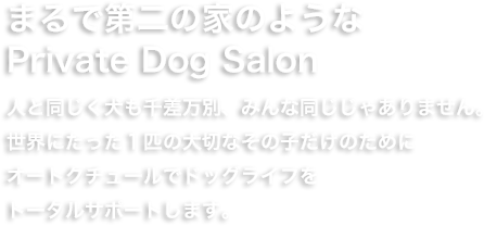 まるで第二の家のようなPrivate Dog Salon。人と同じく犬も千差万別、みんな同じじゃありません。世界にたった一匹の大切なその子だけのためにオートクチュールでドッグライフをトータルサポートします。